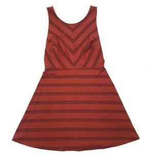Free People Rust Red Orange Striped Low Back Dress